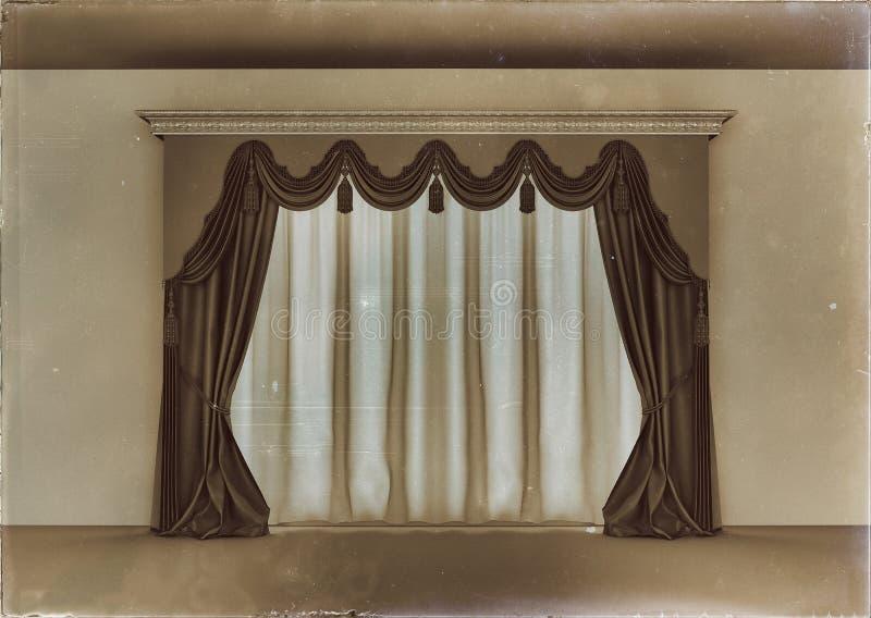 Retro luxury curtain. In empty room stock illustration