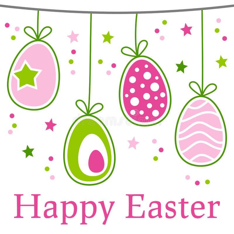 Retro lyckligt påskkort royaltyfri illustrationer