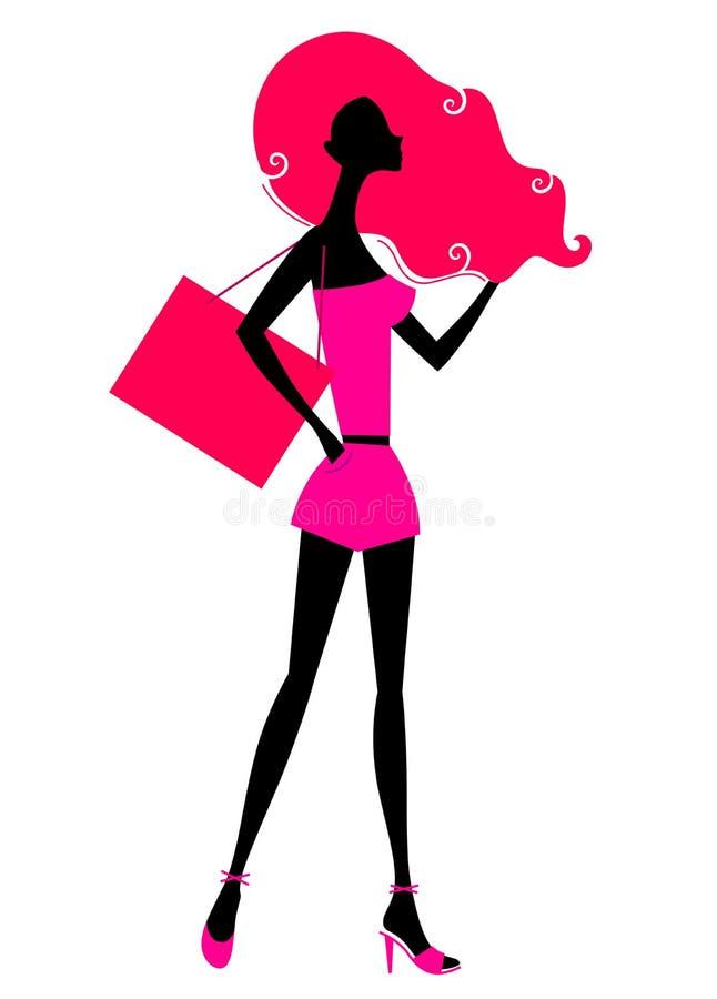 Retro- Mädcheneinkaufenschattenbild vektor abbildung
