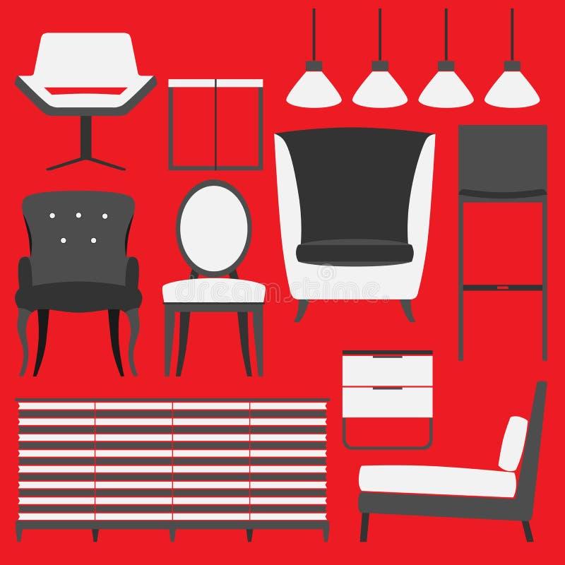 Retro- Möbel und Wohnaccessoires lizenzfreie stockfotografie
