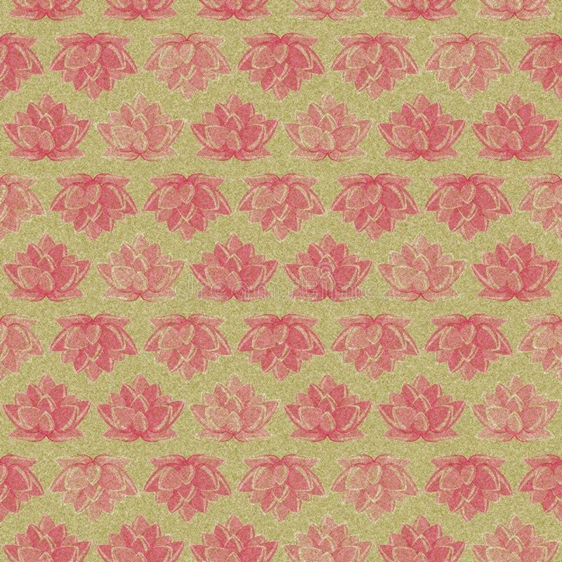 Retro mörkerlotusblommar blommar Seamless mönstrar arkivfoto