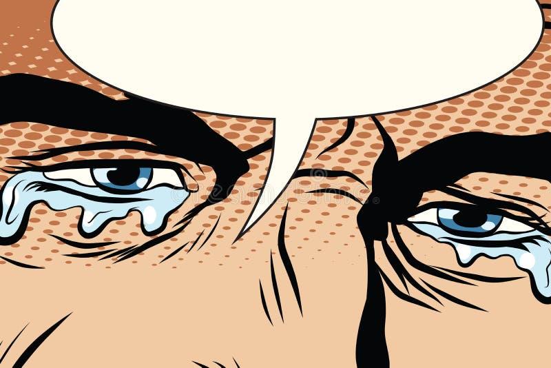 Retro mężczyzna płacze, łzy w oczach royalty ilustracja