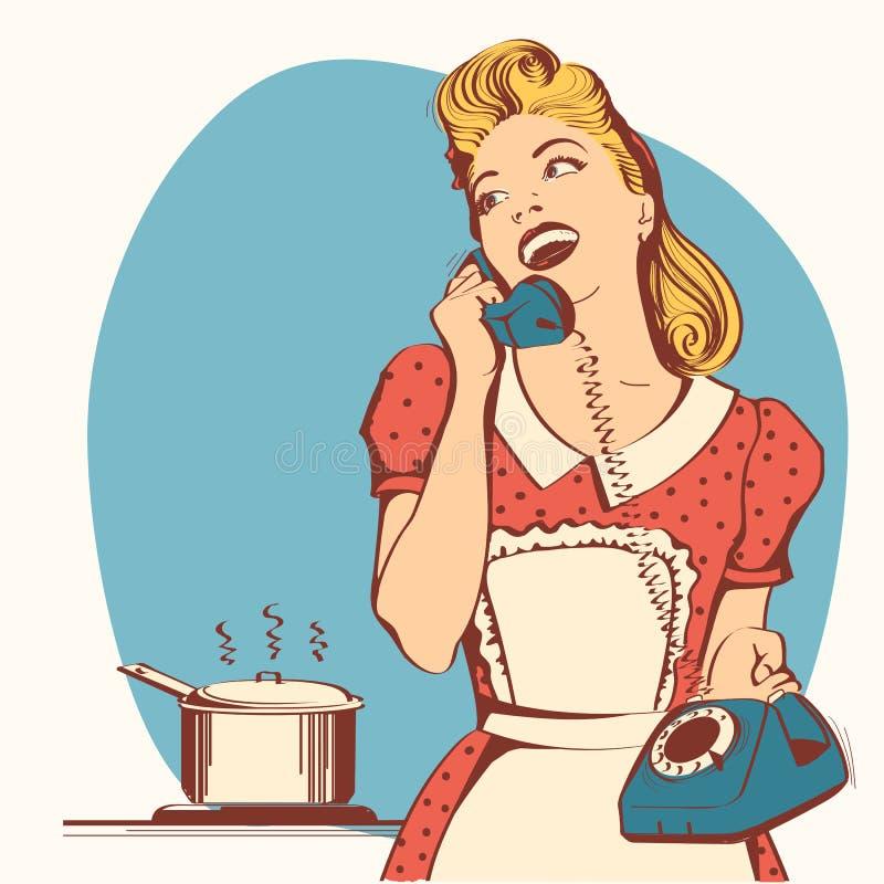 Retro młoda kobieta opowiada na telefonie w jej kuchni Wektorowy kolor ja ilustracji