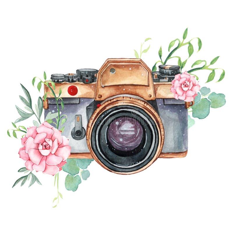 Retro macchina fotografica d'annata dell'acquerello Perfezioni per il logo di fotografia royalty illustrazione gratis