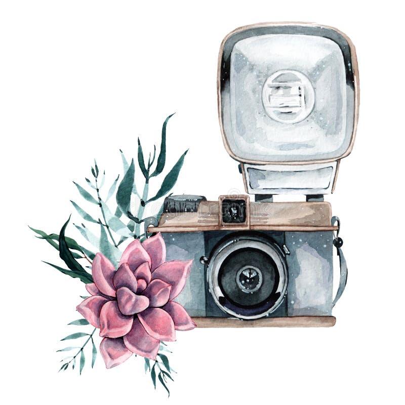 Retro macchina fotografica d'annata dell'acquerello Perfezioni per il logo di fotografia illustrazione di stock
