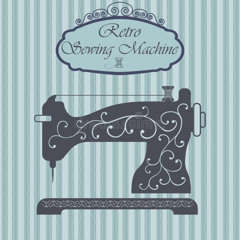 Retro macchina per cucire con l'ornamento floreale sul fondo dei pantaloni a vita bassa Progettazione d'annata del segno Vecchia  illustrazione vettoriale