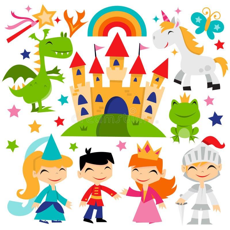 Retro Magiczny bajki królestwa set royalty ilustracja
