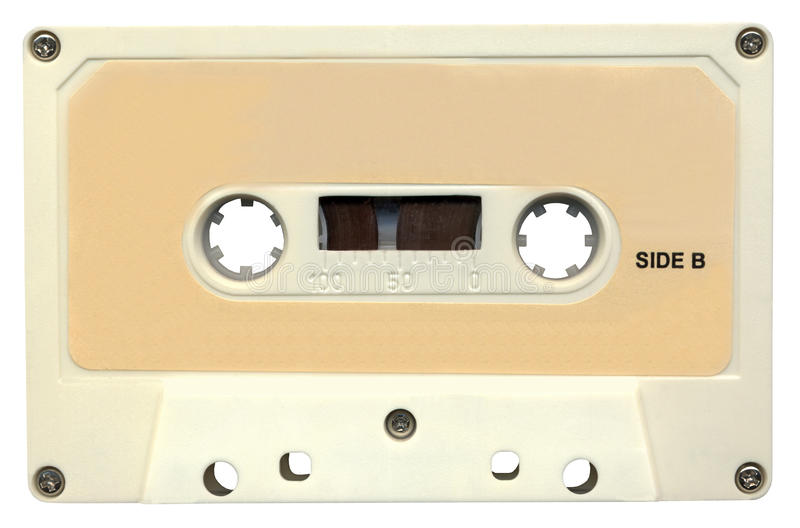 Retro magnetic audio cassette tape, clipping path stock images