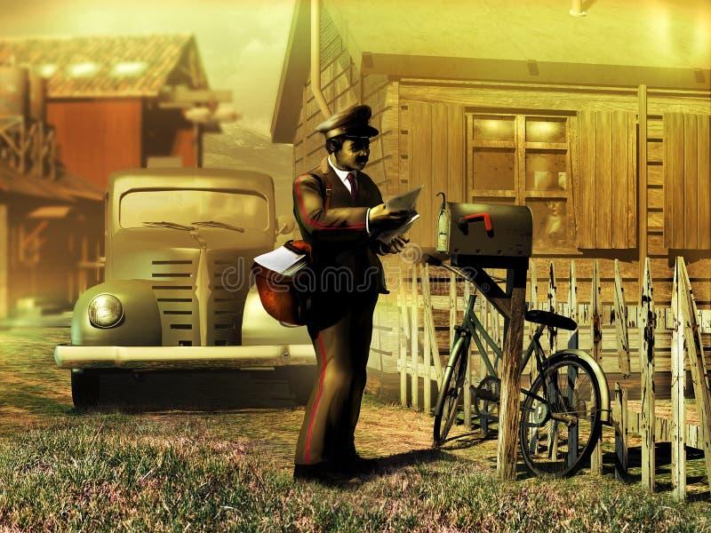 Retro mailman przy pracą ilustracja wektor