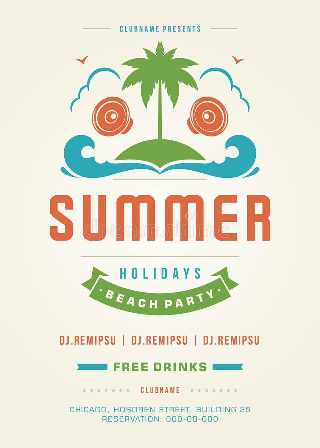 Retro mall för design för affisch eller för reklamblad för parti för strand för sommarferier royaltyfri illustrationer