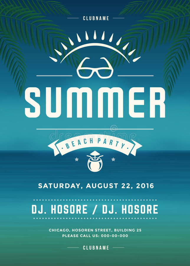 Retro mall för design för affisch eller för reklamblad för parti för strand för sommarferier vektor illustrationer