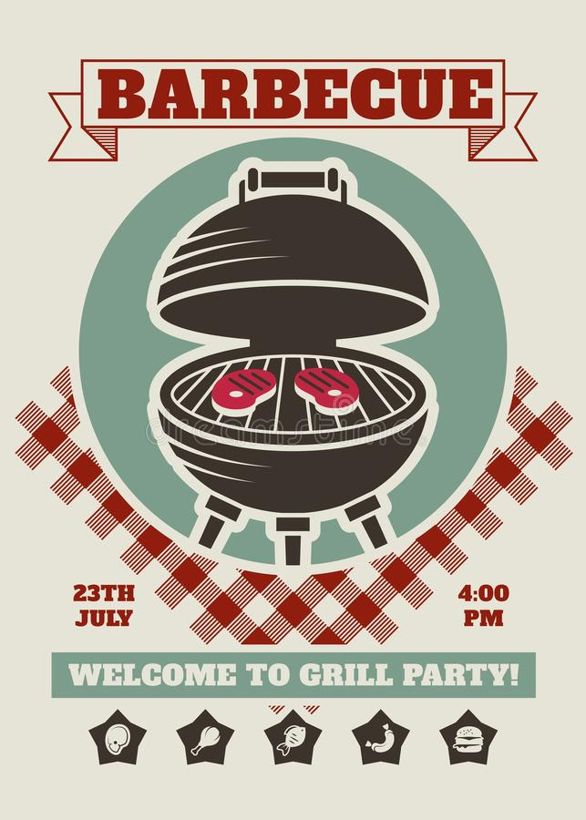 Retro mall för inbjudan för grillfestpartirestaurang Affisch för BBQ-cookoutvektor med det klassiska kolgallret vektor illustrationer