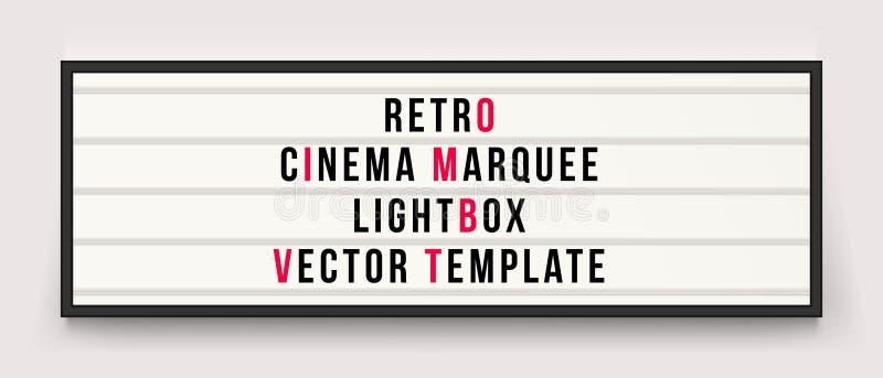 Retro mall för vektor för biostort festtältlightbox stock illustrationer