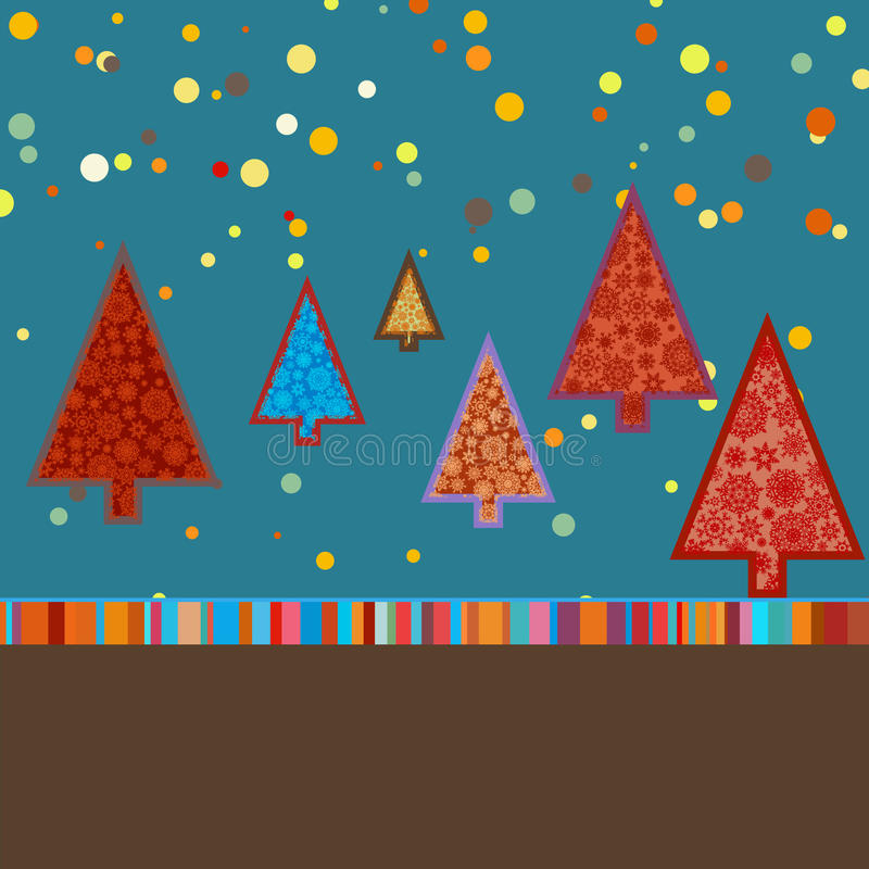 Retro Malplaatje Van De Kerstkaart. EPS 8 Stock Afbeeldingen