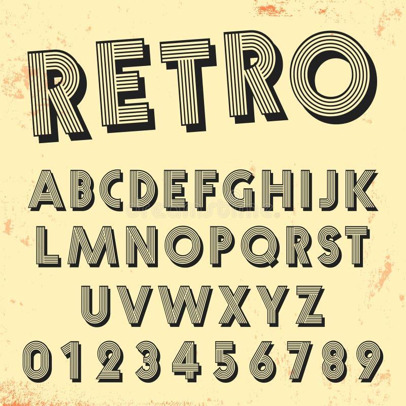 Retro malplaatje van de lijndoopvont Reeks van uitstekend letters en getallen lijnenontwerp vector illustratie