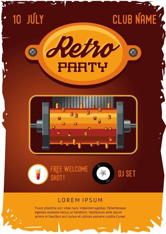 Retro malplaatje van de partijaffiche met uitstekende uurwerkmuziekdoos Steampunkontwerp royalty-vrije illustratie