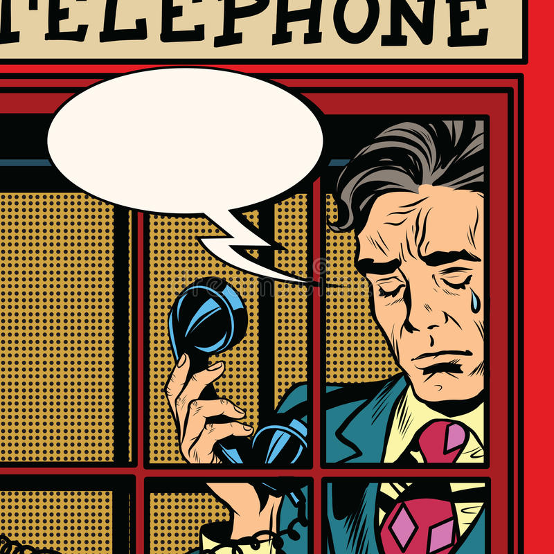 Retro man crying in the red phone booth royalty free illustration