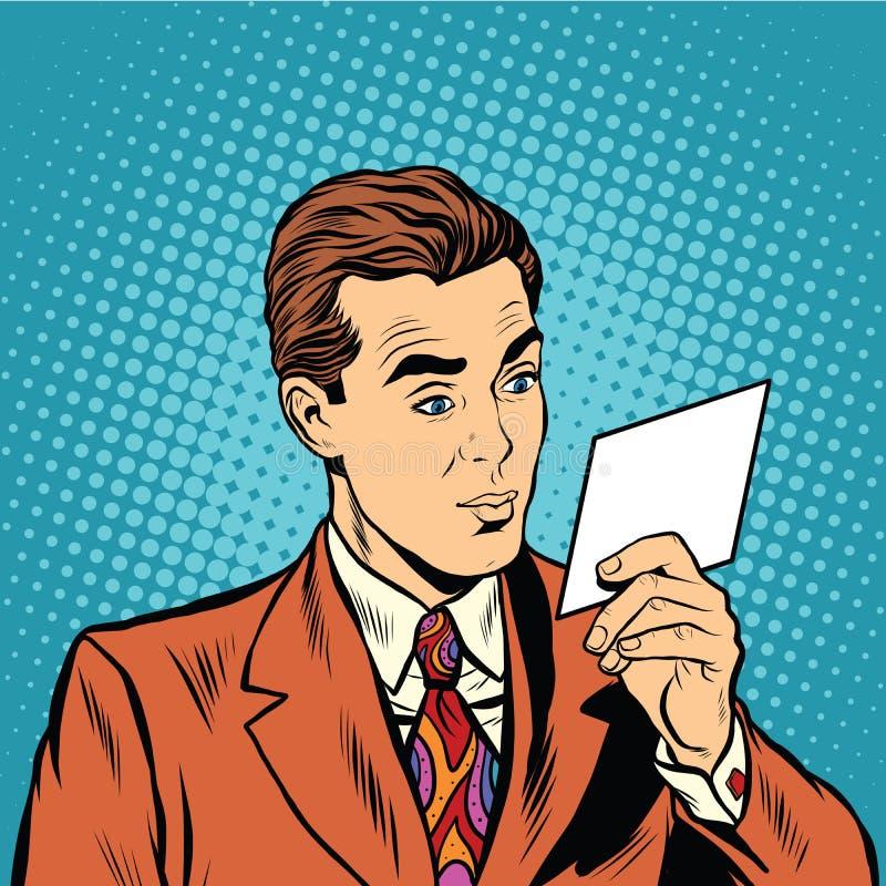 Retro man för popkonst som läser en inbjudan royaltyfri illustrationer
