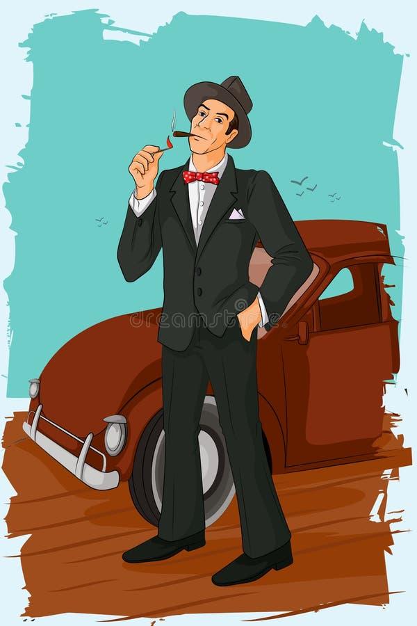 Retro man som röker cigarrröret vektor illustrationer