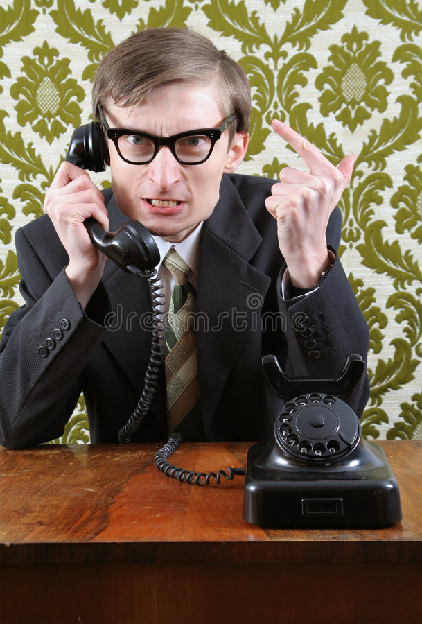 Retro manager angry on the phone royalty free stock photography