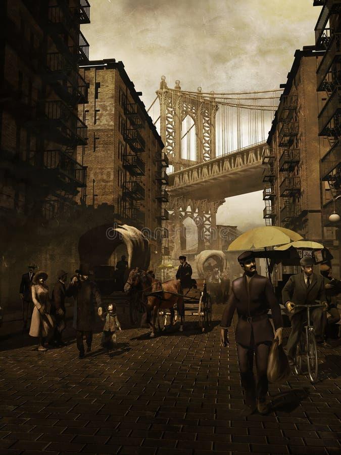 Retro Manhattan stock illustratie