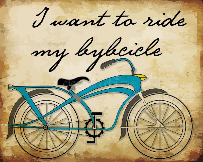 Retro manifesti della bicicletta dell'illustrazione stampa di vettore della bici royalty illustrazione gratis