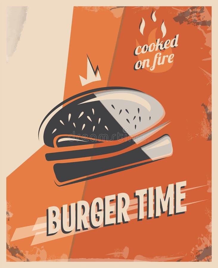 Retro manifesto con l'hamburger con la carne del manzo concetto e progettazione del ristorante Fondo d'annata di stile Illustrazi illustrazione di stock