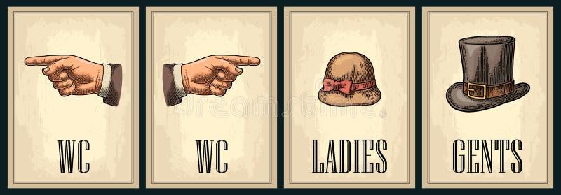 Retro manifesto d'annata di lerciume della toilette Signore, centesimi, indicanti dito illustrazione di stock