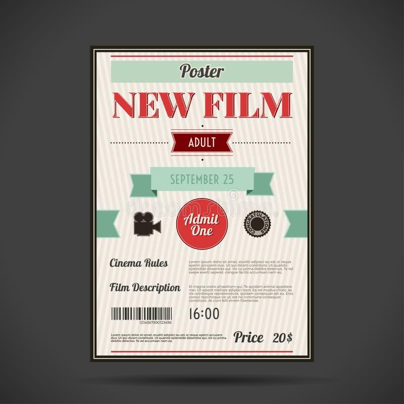 Retro manifesto del cinema Illustrazione di vettore royalty illustrazione gratis