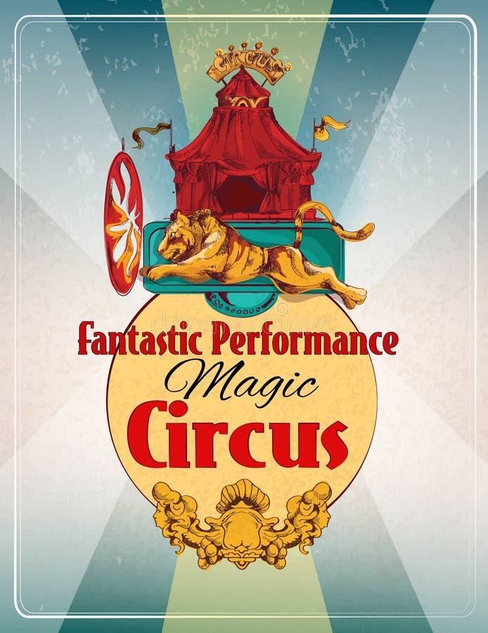 Retro manifesto del circo illustrazione vettoriale