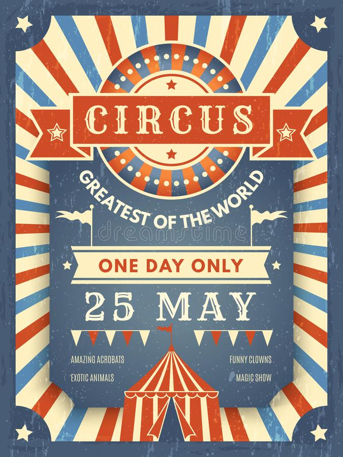 Retro manifesto del circo Meglio nel cartello di annuncio di manifestazione con l'immagine del tema di vettore dell'artista di ev royalty illustrazione gratis