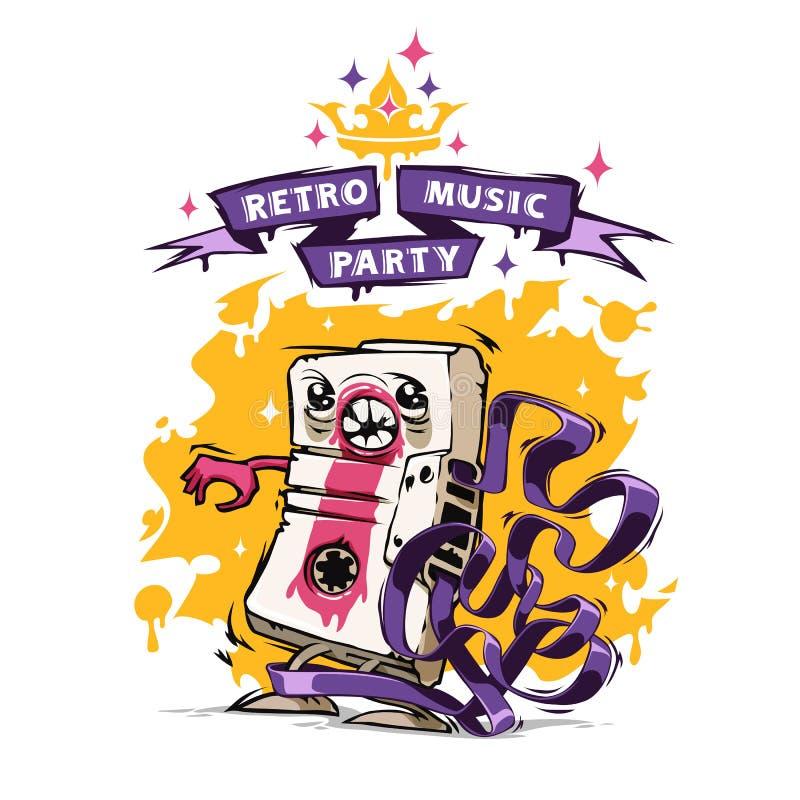 Retro manifesto del partito di musica illustrazione di stock