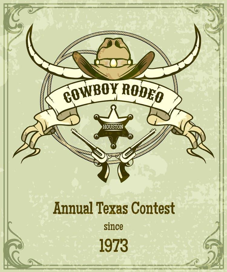 Retro manifesto del rodeo di stile illustrazione di stock