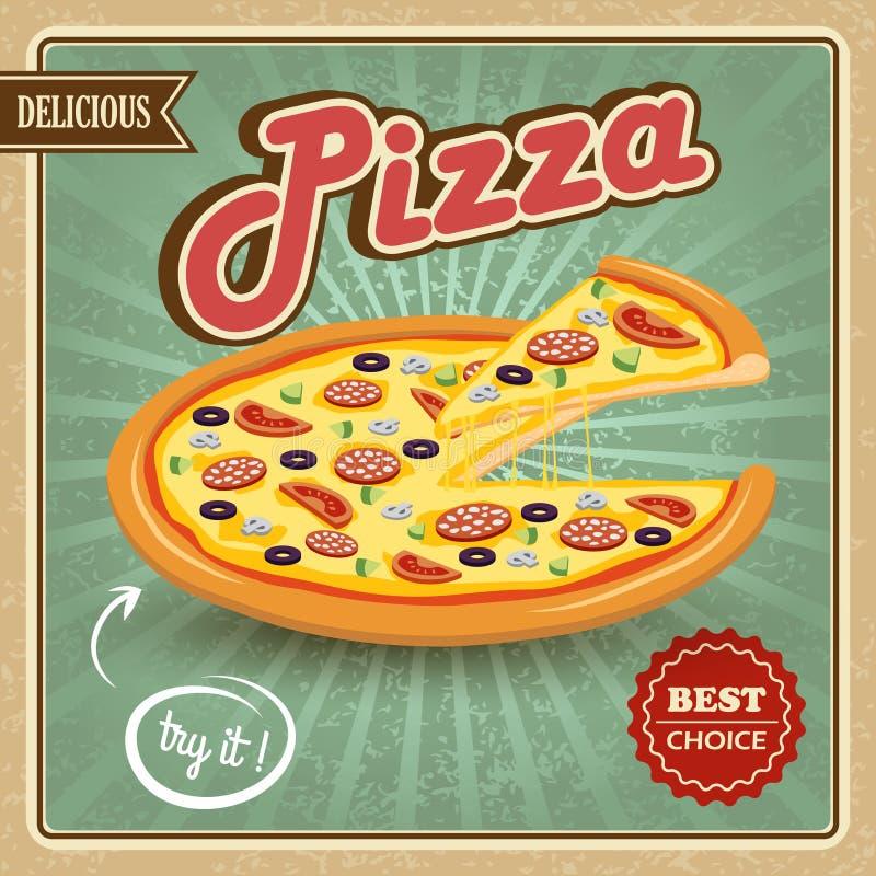Retro manifesto della pizza illustrazione vettoriale