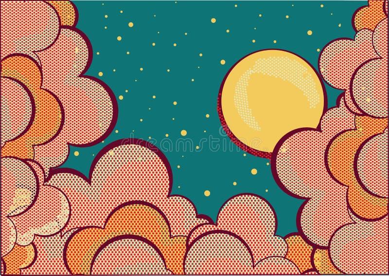 Retro manifesto delle nubi. royalty illustrazione gratis