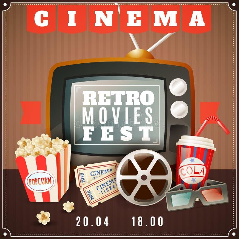 Retro manifesto di annuncio di festival di film del cinema illustrazione di stock