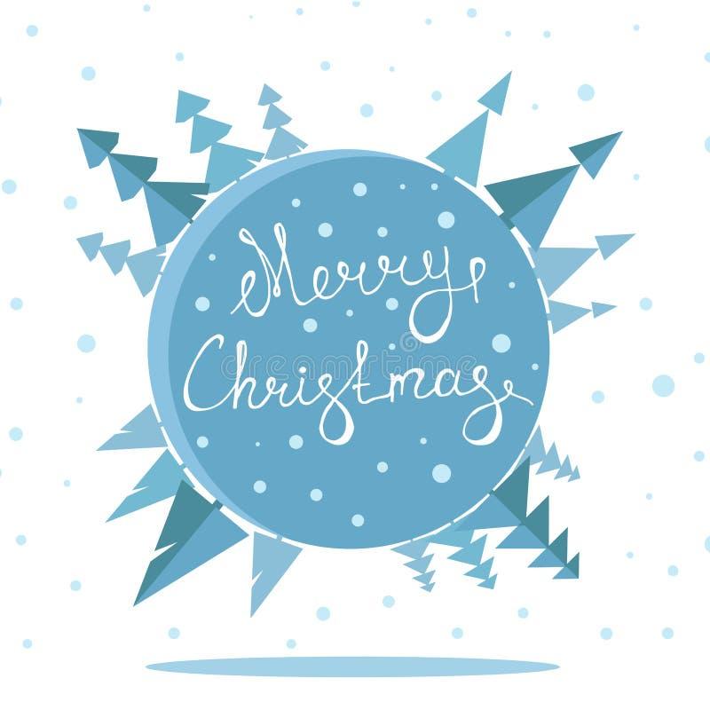 Retro manifesto di Buon Natale con l'iscrizione della mano illustrazione di stock