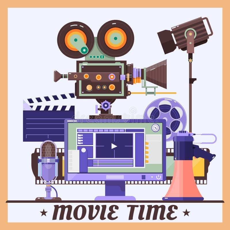 Retro manifesto di concetto del cinema con il megafono, lampada, microfono, monitor, videocamera portatile, illustrazione dettagl royalty illustrazione gratis