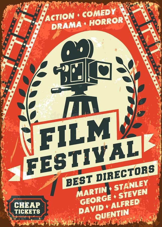 Retro manifesto di festival cinematografico di lerciume illustrazione vettoriale