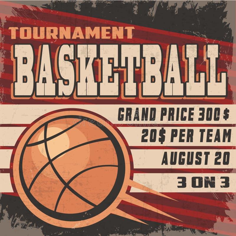 Retro manifesto di torneo di pallacanestro fotografia stock