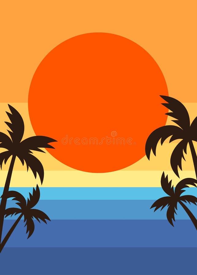 Retro manifesto di tramonto della spiaggia di estate di stile illustrazione di stock