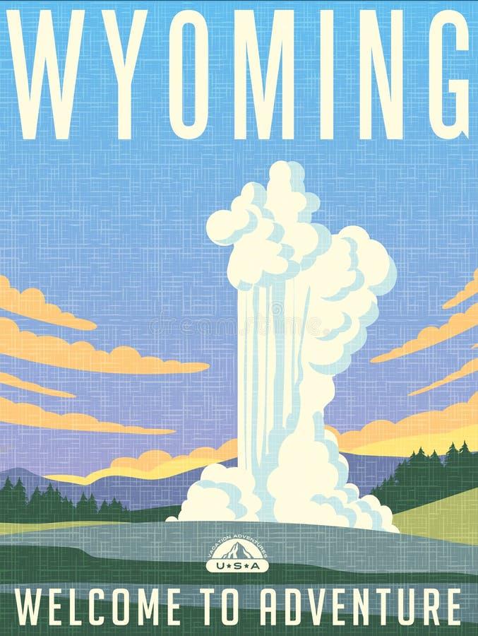 Retro manifesto illustrato di viaggio per il Wyoming illustrazione di stock