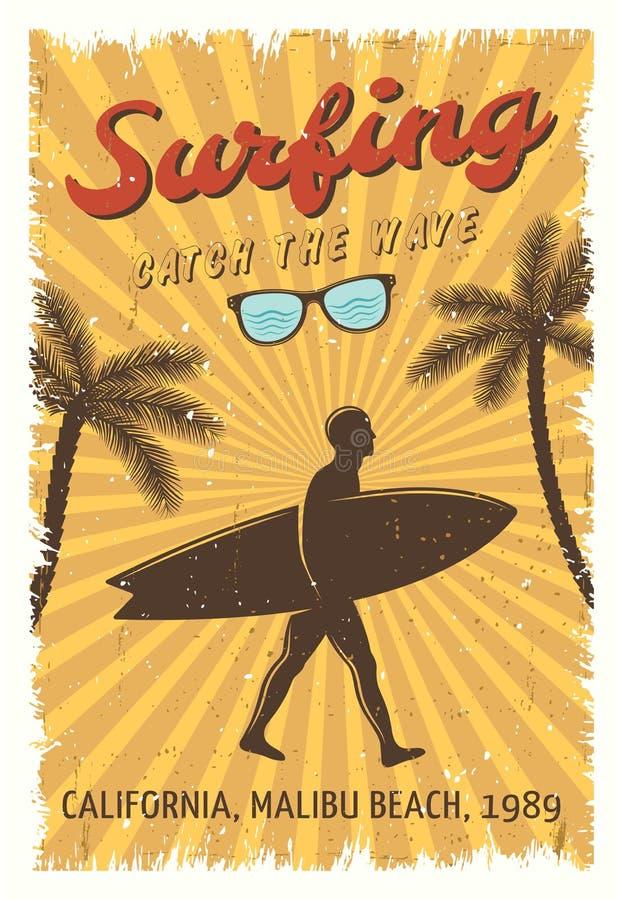 Retro manifesto praticante il surfing illustrazione di stock