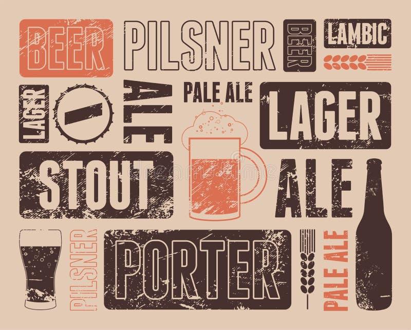 Retro manifesto tipografico della birra di lerciume Illustrazione di vettore illustrazione di stock