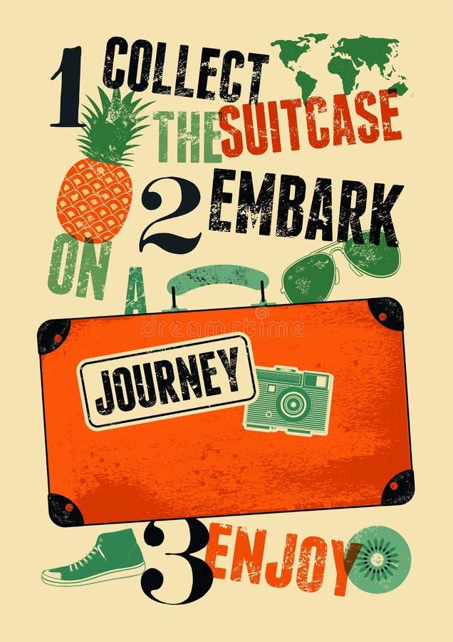 Retro manifesto tipografico di viaggio di lerciume Vecchia valigia di progettazione d'annata con le etichette Illustrazione di ve royalty illustrazione gratis