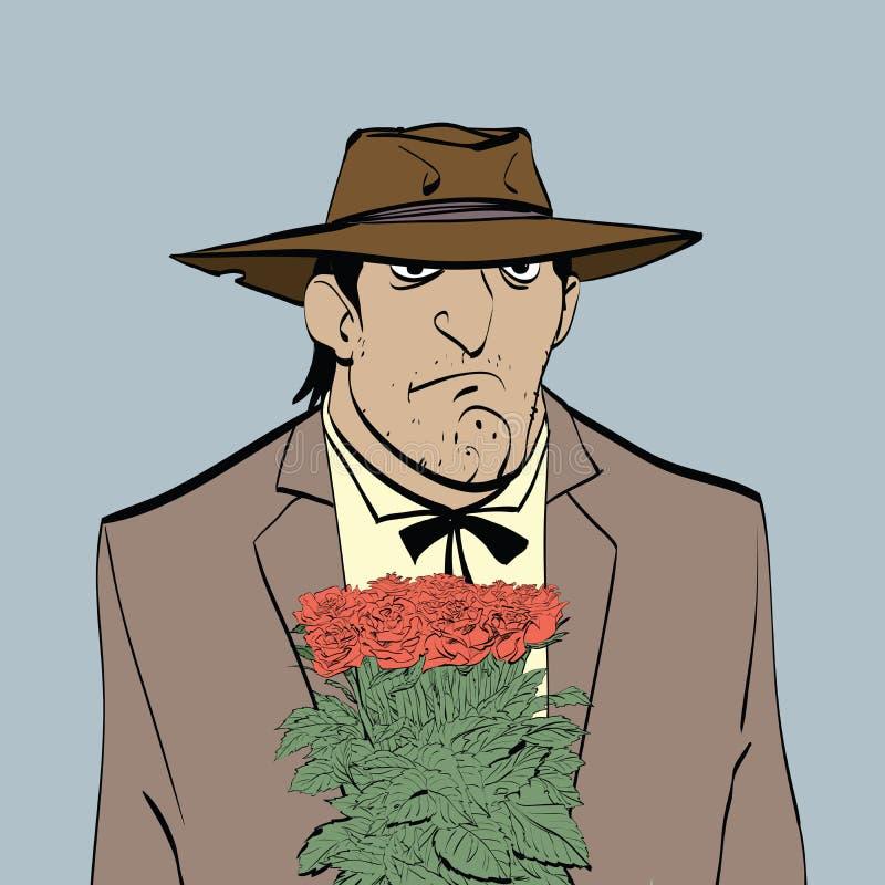 Retro manlig latinamerikan med en bukett av blommor vektor illustrationer