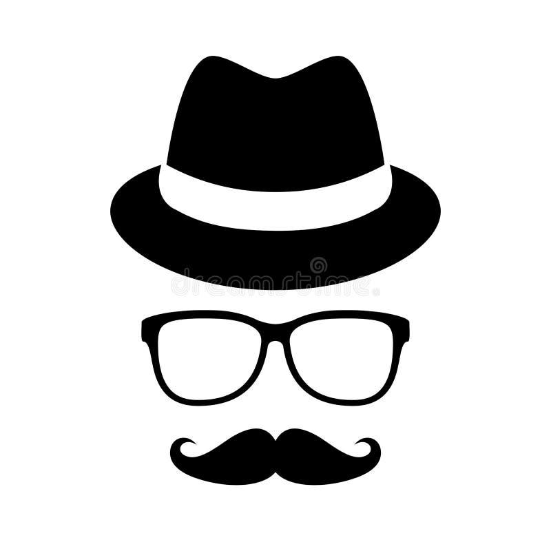 Retro-Mann-Hut und -Brille lizenzfreie abbildung
