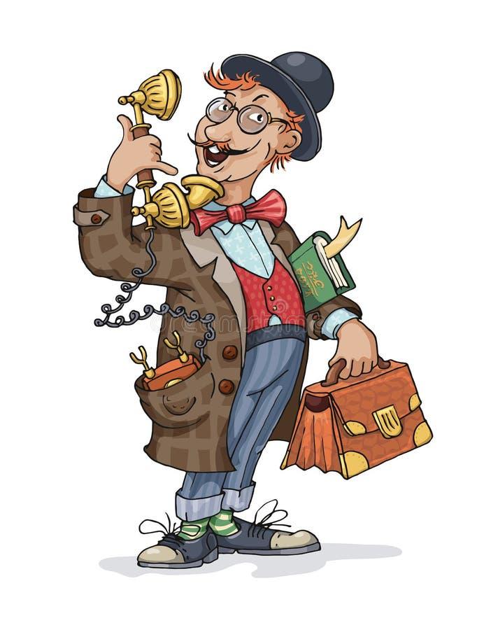 Retro- Mann mit einem Draht-Telefon in seiner Tasche stock abbildung