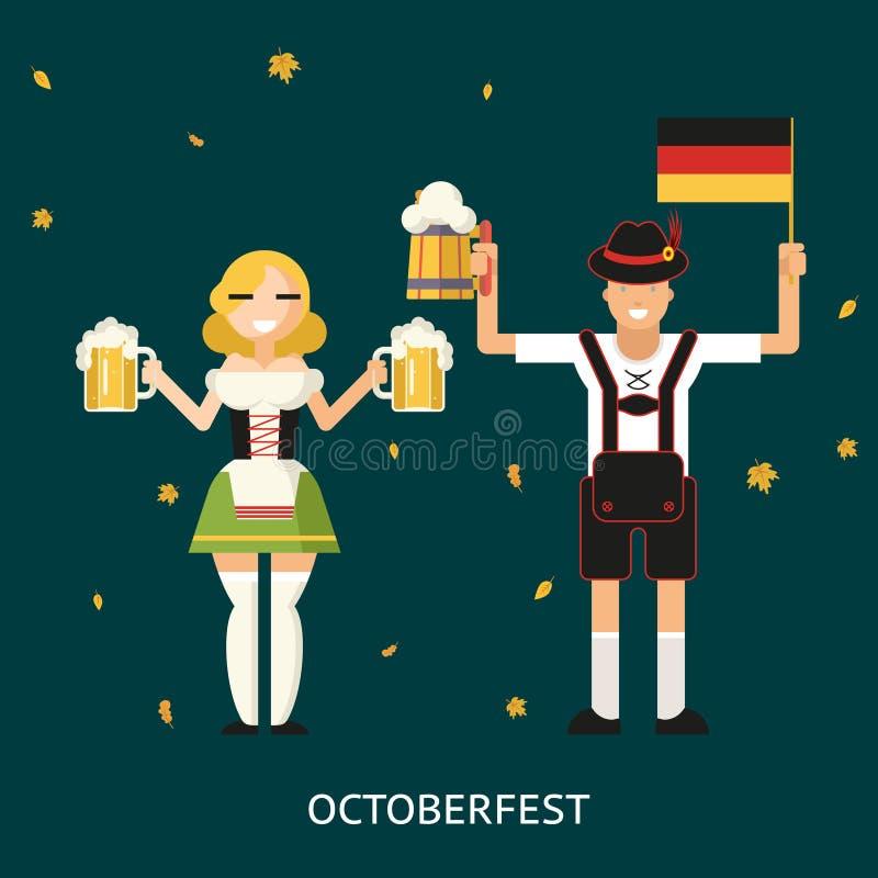 Retro Mannelijke en Vrouwelijke Karakters van Oktoberfest binnen vector illustratie