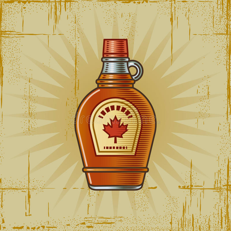 Retro Maple Syrup Bottle. In woodcut style. Decorative illustration vector illustration